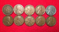 Lot Of 10 Vintage Indian Head & Lincoln Wheat Penny 1 Cent US Coins SHIPS FREE