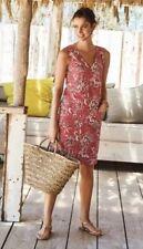 Red Linen Blend Floral Dress Summer Tunic Size 12 Sleeveless