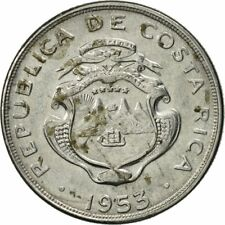 [#468574] Costa Rica, 5 Centimos, 1953, AU(55-58), Stainless Steel, KM:184.1a