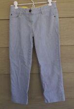 Mini Boden Girls 12 Blue Ticking Engineer Striped Denim CAPRIS Deck Pants