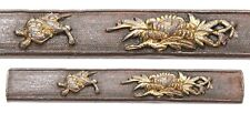 Antique Japanese Kozuka Shi Shi Botan Peony Foo Dog Nanako Samurai Sword Fitting