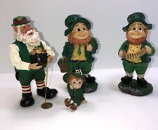 "4 Vintage St.Patrick's Day Resin Leprechaun Playing Accordion Figurine 6"" Tall"