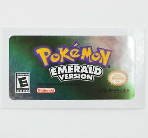 Pokemon Emerald GBA Replacement Label SHINY FOIL Sticker Gameboy Advance USA