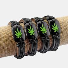1Pcs Pot Marijuana Weed Leaf Hemp Wrap Black Leather Charms Bracelet