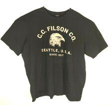 CC Filson Men's Black Spell Out Eagle Seattle T-shirt Size XXL