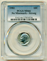 1982 No P PCGS MS66 Strong █ 10,000 Minted ☗ $543 APR ◉ Roosevelt Dime ✭ PQ 10C