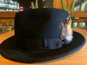 Black Felt Fedora Hat - Men's Size L