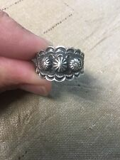 Native American Womens Navajo Sterling Stamped Ring Size 7 Bennie Ramone #C
