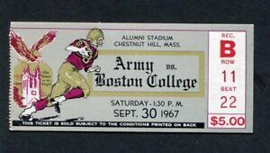 1967 Army Black Nights vs. Boston College Eagles NCAA Football Ticket Stub