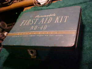 Vintage METAL Automobile First Aid Kit Bauer & Black WITH CONTENTS KENDALL CO