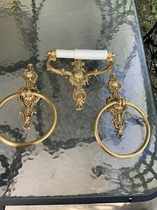 Vintage 3 pc Set Brass Towel Rings & T P Holder Wall Mount Gold