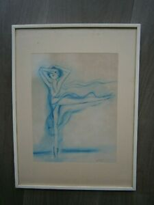 """Drawing Antique """" Ballerina """" Cameo Blue Painting 1970 Deco Dance Classic"""