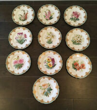 "Antique Set Of 10 Julien Fils Aine Floral Pattern Hand Painted 9"" Dessert Plates"