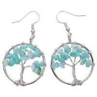 Natural Aquamarine Dangle Hoop Earrings Handcraft Jewelry Gifts Women Mom CAE01