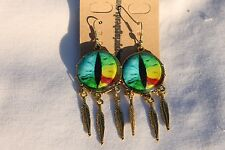 Dragon Eye's Feathers Color Dangle Halloween Jewelry Earrings # 11 Ant. Gold 1pr