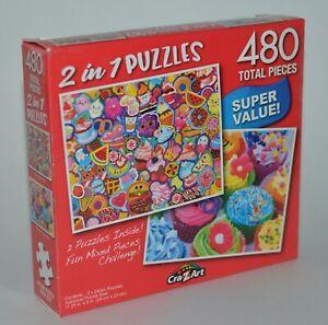 CRAZART 2 IN 1 YUMMY STICKERS COLORFUL CUPCAKES JIGSAW PUZZLE 480 PIECES TOTAL