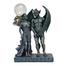 Gargoyle and Girlgoyle Statue with Lighted Moon