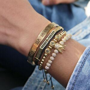 Men King Crown Charm Macrame Bracelets Gold Roman Numeral Stainless Steel Bangle