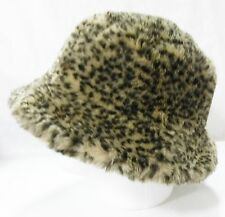 Women's leopard faux fur bucket hat fully lined