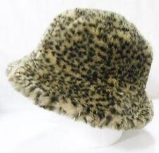 Women's leopard faux fur bucket hat fully lined