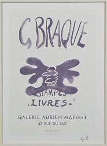 """""""Estampes-Livres"""" by Georges Braque Signed Lithograph 9""""x7"""""""