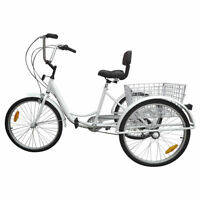 """7-Speed 24"""" Adult 3-Wheel Tricycle Cruise Bike Bicycle With Basket White F11"""