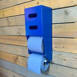 MegaMaxx UK™ Industrial Paper Towel Blue Roll Holder Dispenser Workshop Garage