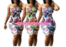 Women  Leaves Print Strapless Sexy Body con Club Out fits Casual Mini Dress #SB