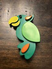 Vintage kids Avon 1973 Perky Parrot green bird Pin Pal brooch 1970's