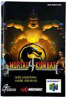 Notice jeu N64 Mortal Kombat 4 Nintendo 64 Livret Instruction Manuel PAL FRA