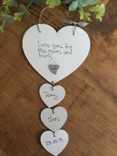 HANDMADE PERSONALISED WE LOVE YOU TO THE MOON AND BACK PLAQUE chic shabby hearts