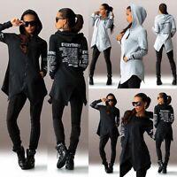 Womens Spring Hooded Long Sleeve Hoodie Sweatshirt Jacket Letters Print Coat UK