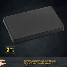 "Slim 2.5"" USB 2.0 HDD Case Hard Driver 2TB SATA External Box Disk Case Black TL"