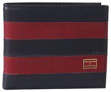 Tommy Hilfiger Men's Navy/Red Leather Worchester Striped Passcase Bifold Wallet