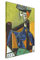 WOMAN SITTING IN A CHAIR BY PABLO PICASSO FRAMED CANVAS PICTURES WALL ART PRINTS