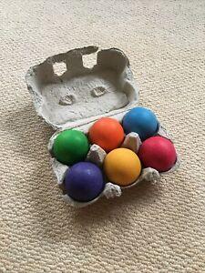 Grimms 6 Rainbow Wooden Balls - In Original Box - Official Genuine Grimm's Toy