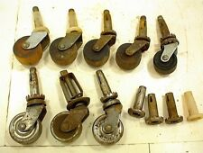 LOT OF 8 ANTIQUE FURNITURE CASTERS 4 WOOD 3 STEEL 1 COMPOSITE + MISC.