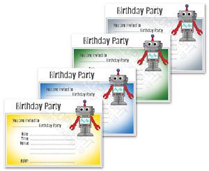 1-100 ROBOT BIRTHDAY PARTY INVITATIONS Cards Boys Girls Kids Invites Envelopes