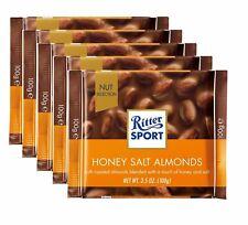 Genuine Ritter Sport x 5 100g Bars HONEY SALT ALMONDS CHOCOLATE Pack of 5 Box UK