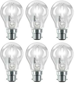 Halogen GLS Bulbs 42w (=60w) Watt B22 Eco Bayonet Cap Fit Clear Bulbs x 6