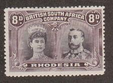 Rhodesia SG 185a MLH. 1910 8p Double Head, perf 13½