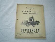 Cockshutt 7 harvester combine repair parts list catalog manual