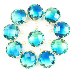 10Pcs Wrap Faceted Blue Cyan Tourmaline Crystal Round Pendant Bead SK63158