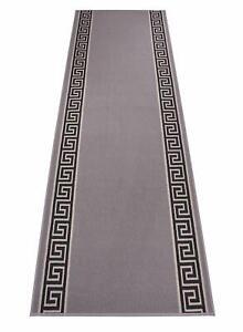 """Custom Size Runner Rug Grey Hallway Greek Key Slip Resistant Rug Runners 36"""" W"""