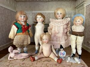 Collection of 7 Antique Vintage Miniature Bisque Dolls Some Need Repair & Love
