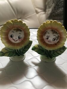 Anthropomorphic PY Japan Sun Flower Salt and & Pepper Shakers: boy and girl