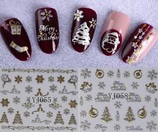 Nail Art Sticker 3D-NATALE-Fiocchi di Neve-Adesivi Unghie-Oro/Argento-CHRISTMAS