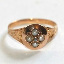 Antique Victorian diamond and pearl 18 ct gold ring inscribed mourning size Q