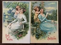 ~Lot of 2 Victorian Pretty Ladies with Cupid~ Antique Greeting Postcards--s540