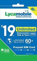 Lycamobile $19 Plan 1st Month Free Triple Cut SIM Card  4G Unlimited Talk & Text